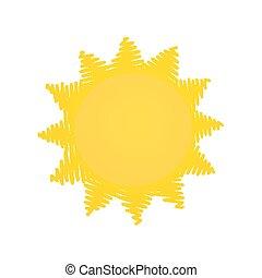 soleil, jaune, griffonnage