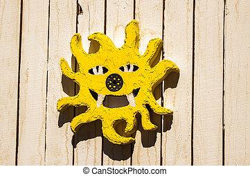 soleil jaune, peint