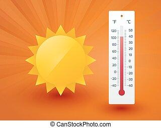 soleil, jaune, thermomètre