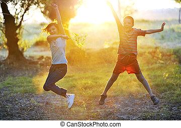 soleil, jeu, enfants, contre