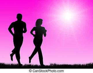soleil, jogging