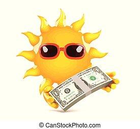 soleil, jour paie, 3d