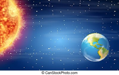 soleil, la terre, espace