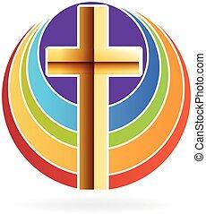 soleil, logo, croix