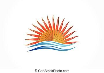 soleil, logo, plage, vagues, vecteur