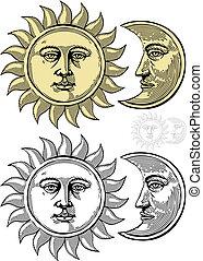 soleil, lune, faces