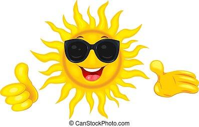 soleil, lunettes soleil, heureux