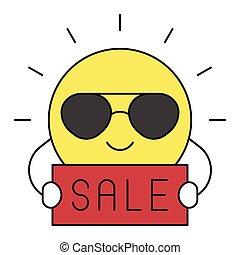 soleil, lunettes soleil, icône, été, apparenté, vente, vecteur
