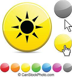 soleil, lustré, button.