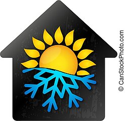 soleil, maison, symbole, flocon de neige, climatisation