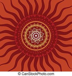 soleil, mandala., pattern.