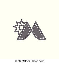 soleil, montagne, m, vecteur, logo, lettre