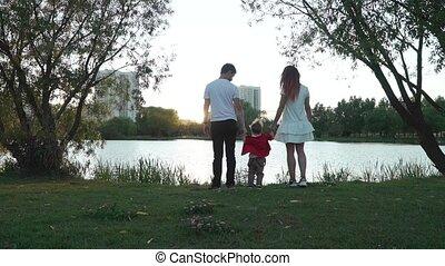 soleil, monture, couple, enfant, mariés