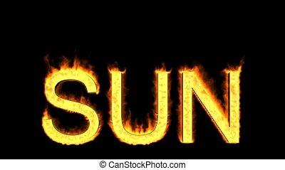 soleil, mot, flammes
