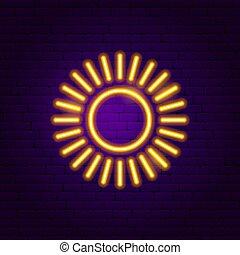 soleil, néon, étiquette