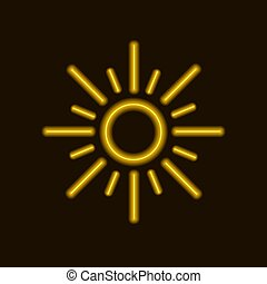 soleil, néon, jaune, vecteur, sun., icône, briller