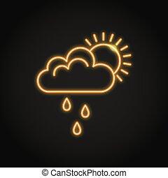 soleil, néon, pluie, derrière, nuage, icône