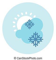 soleil, neige, prévision, temps, nuage, icône