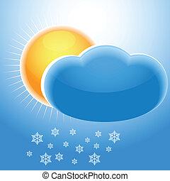 soleil, nuage, flocons neige