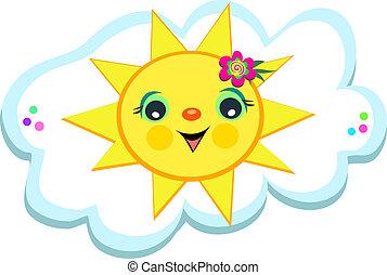 soleil, nuage, heureux