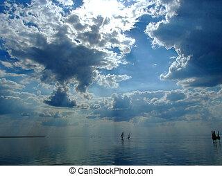 soleil, nuages, au-dessus, golfe, ciel