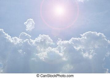 soleil, nuages blancs, ciel