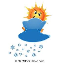 soleil, nuages, flocons neige