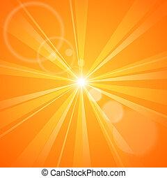 soleil orange, résumé, rayons, fond