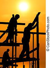 soleil, ouvriers, ardent, chaud, construction, sous