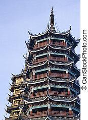 soleil, pagodes, porcelaine, guilin, lune