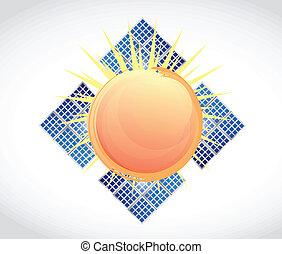 soleil, panneaux, conception, solaire, illustration