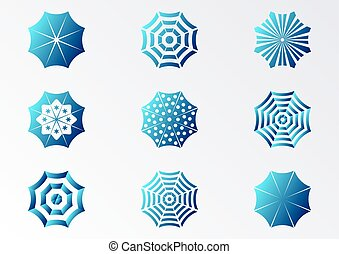 soleil, parapluie, icônes