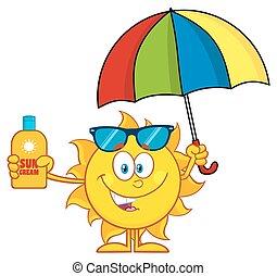 soleil, parapluie, tenue