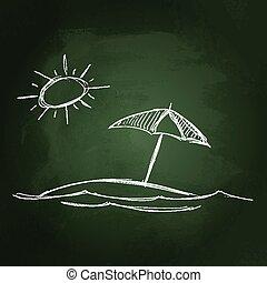 soleil, parasol, illustration
