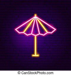 soleil, parasol, néon, étiquette