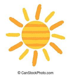 soleil, peint, vecteur