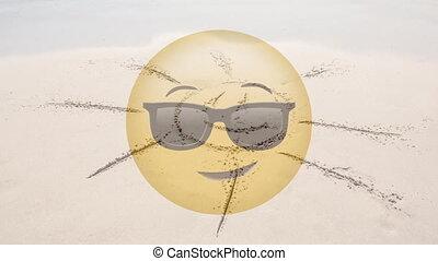 soleil, plage, dessiné, smiley