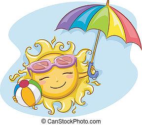 soleil, plage, jouer