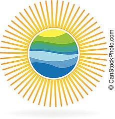 soleil, plage, logo.