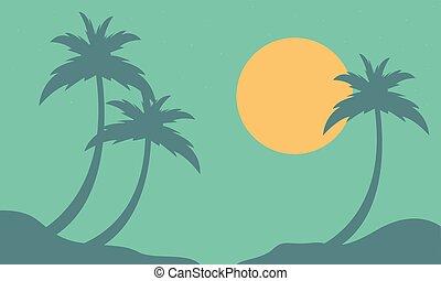 soleil, plage, paume, paysage