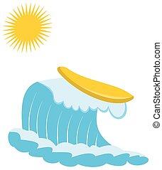 soleil, planche, vague
