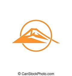 soleil, plat, chevaucher, monogram, logo, vecteur, montagne