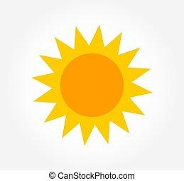 soleil, plat, conception, icon.