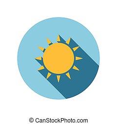 soleil, plat, icône
