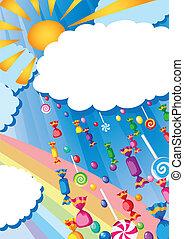 soleil, pluie, carte, bonbon