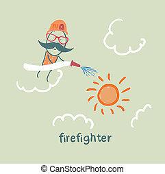 soleil, pompier, met, dehors