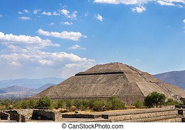 soleil, pyramide, vue
