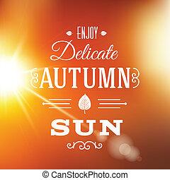 soleil, résumé, automne, vecteur, délicat, fond