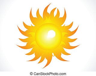 soleil, résumé, brillant, brûlé, icône