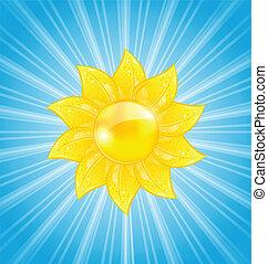 soleil, résumé, rayons, fond, lumière